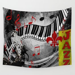 JAZZ PIANO KEYBOARD MUSIC Wall Tapestry