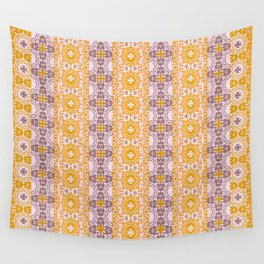 ornamental lines in yellow and gray Wall Tapestry