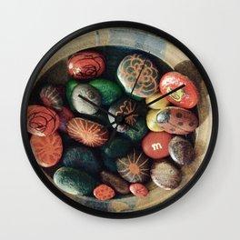 Rock art in ceramic bowl Wall Clock
