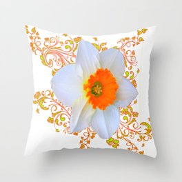 SPRING DAFFODIL SCROLLS ART GARDEN PATTERN Throw Pillow