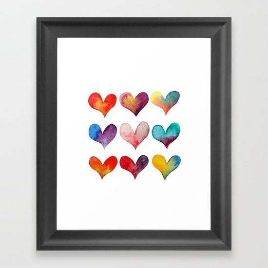 color of hearts Framed Art Print