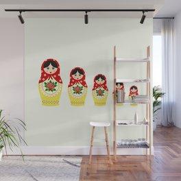 Red russian matryoshka nesting dolls Wall Mural