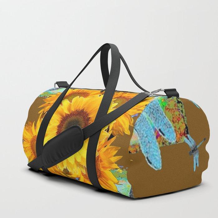 MODERN SUNFLOWERS BLUE DRAGONFLIES BROWN ABSTRACT Duffle Bag