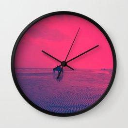 Horses on Rimini Beach Italy Purple Pink Sky Wall Clock