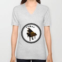 Vintage Piano Keyboard Music Player Unisex V-Neck