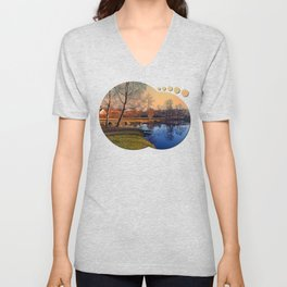 Winter mood on the river IV | waterscape photography Unisex V-Neck