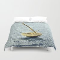 selena gomez Duvet Covers featuring Stone-Sailboat on a Silver Sea by Menchulica