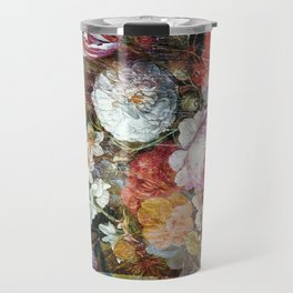 Worn vintage floral wood panel Travel Mug