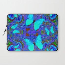 BLUE NEON BUTTERFLIES &  BLUE LINE PURPLE DRAWING Laptop Sleeve