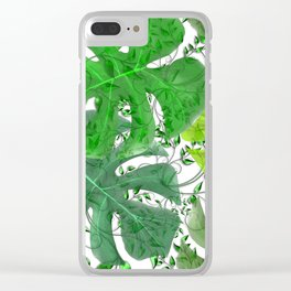 PALM LEAF B0UNTY GREEN AND WHITE Clear iPhone Case