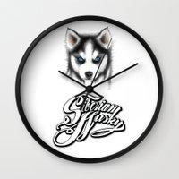 husky Wall Clocks featuring Siberian Husky by Det Tidkun
