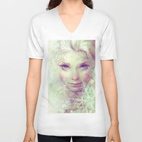 ice V-neck T-shirts featuring Elsa by Anna Dittmann