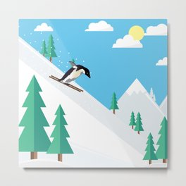 Downhill Skiing Penguin Metal Print