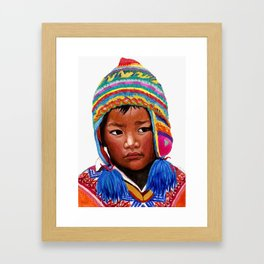 peruvian boy Framed Art Print