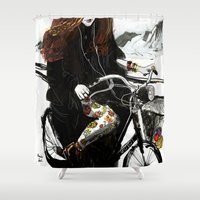 shopping Shower Curtains featuring groccery shopping by Ksenia Sapunkova