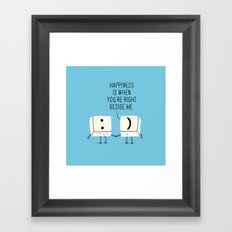 Happiness is when you're right beside me Framed Art Print