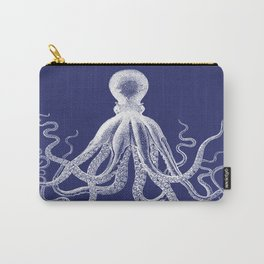 Octopus | Vintage Octopus | Tentacles | Navy Blue and White | Carry-All Pouch