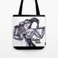 harley quinn Tote Bags featuring Harley Quinn by VivianLohArts