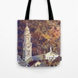 Watercolor painting of steeple of 13th century Church of the Holy Spirit city of Heidelberg, Germany Tote Bag