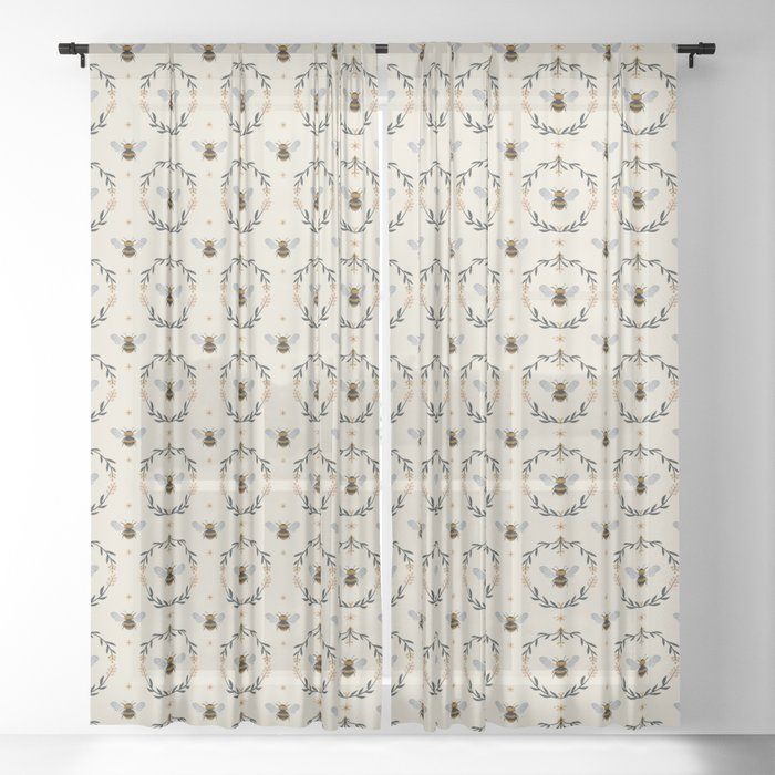 Ode to the Bumblebee (in cream) Sheer Curtain