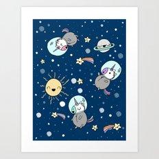 Cute Space Unicorns Art Print