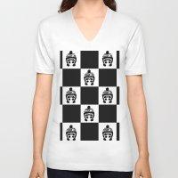 chess V-neck T-shirts featuring Panda Chess by Panda Cool