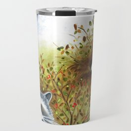 Silly Dog  Jack Russell Terrier, Raccoon, Landscape Painting, Original Art Travel Mug