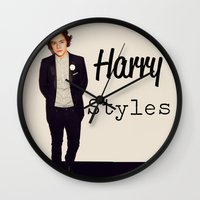harry styles Wall Clocks featuring Harry Styles by Marianna