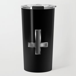 An inverted cross- The Cross of Saint Peter used as an anti-Christian and Satanist symbol. Travel Mug