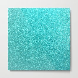 Aqua Blue Glitter Metal Print