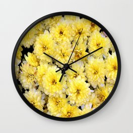 Romantic Bright pastell yellow blooming and blossom chrysanthemums flowers  Wall Clock