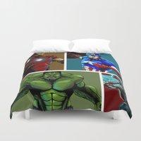 avenger Duvet Covers featuring Avenger Team by Carrillo Art Studio