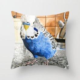 Bob the Budgie Throw Pillow
