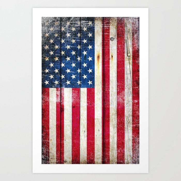 Vintage American Flag On Old Barn Wood Art Print