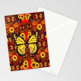 COFFEE BROWN MONARCH BUTTERFLY SUNFLOWERS Stationery Cards