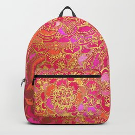 Hot Pink and Gold Baroque Floral Pattern Backpack