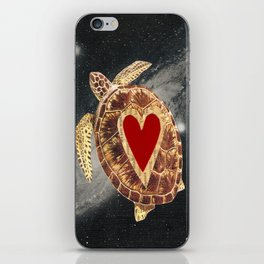 space turtle in love iPhone Skin
