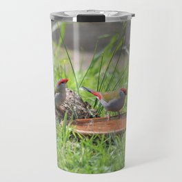Red Browed Finches Travel Mug