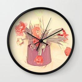 Happy Vintage Tulips 2 Wall Clock