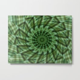 Green Stripes Kaleidoscope 6 Metal Print