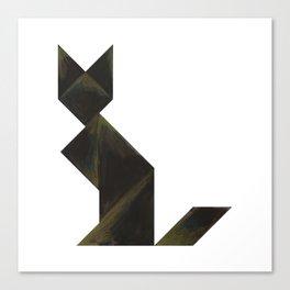 Tangram Black Cat Canvas Print
