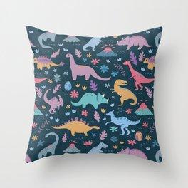 Dinosaur + Flowers Pattern Throw Pillow