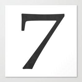 Number 7 (Black) Canvas Print