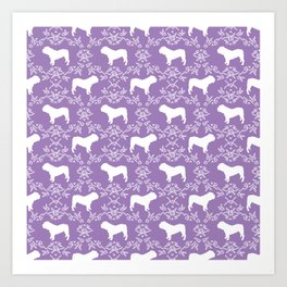 English Bulldog silhouette florals purple and white minimal dog breed pattern print gifts bulldogs Art Print