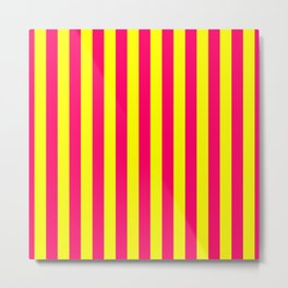 Super Bright Neon Pink and Yellow Vertical Beach Hut Stripes Metal Print