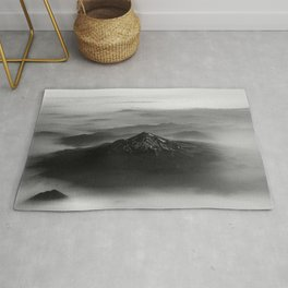 The West is Burning - Mt Shasta Black and White Rug