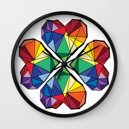 Rainbow color clover leaf Wall Clock