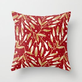 Christmas colorful pattern. Gold sprigs on a red background. Throw Pillow