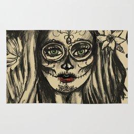 Day of Dead Girl Sugar Skull Girl Rug
