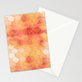 Apricot & Gold Mermaid Scale Pattern Stationery Cards
